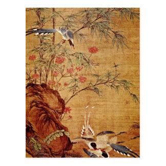 Cartão Postal Magpies da laranja três e flores do primavera,
