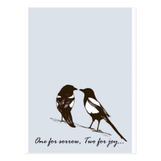 Cartão Postal magpies - uns para a amargura, dois para a alegria