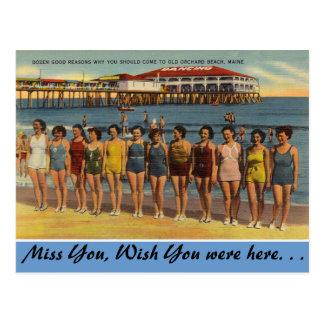 Cartão Postal Maine, banhando belezas, praia velha do pomar