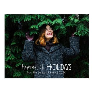 Cartão Postal Mais feliz da foto da tipografia   dos feriados