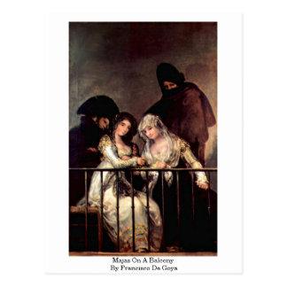 Cartão Postal Majas em um balcão por Francisco De Goya