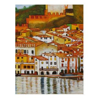 Cartão Postal Malcesine no lago Garda bonito
