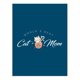Cartão Postal Mamã do gato do mundo a melhor para mães do