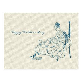 Cartão Postal Mamã do vintage e criança - dia das mães feliz