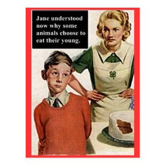 Cartão Postal Mamã e bolo irritados da imagem do vintage