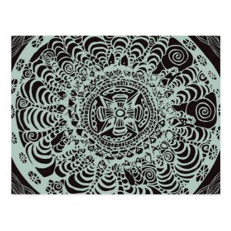 Cartão Postal Mandala asteca preta