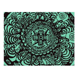 Cartão Postal Mandala asteca preta e verde super