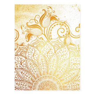Cartão Postal Mandala - escova dourada