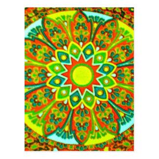 Cartão Postal Mandala étnica do olhar de Earthtone