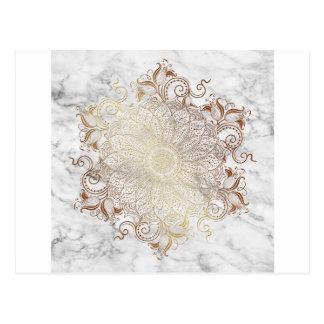 Cartão Postal Mandala - ouro & mármore
