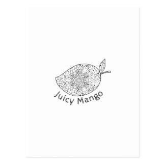 Cartão Postal Mandala preto e branco da manga suculenta
