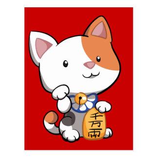 Cartão Postal Maneki bonito Neko (gato Beckoning afortunado)