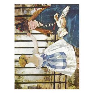 Cartão Postal Manet, técnica 1872-1873 de Edouard Eisenbahn? l