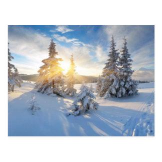 Cartão Postal Manhã gelado nas montanhas