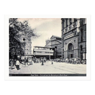 Cartão Postal Manhattan, entrada à ponte de Brooklyn, vintage