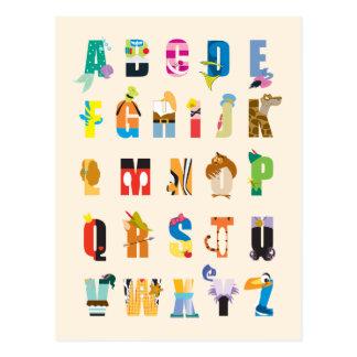 Cartão Postal Mania do alfabeto de Disney