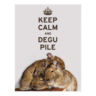 Cartão Postal Mantenha a calma e a pilha de Degu