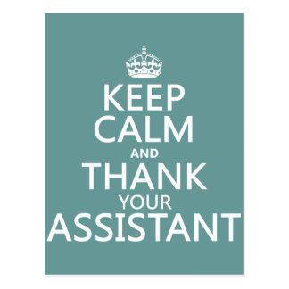 Cartão Postal Mantenha a calma e agradeça a seu assistente - em