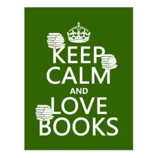 Cartão Postal Mantenha a calma e ame livros (em alguma cor)