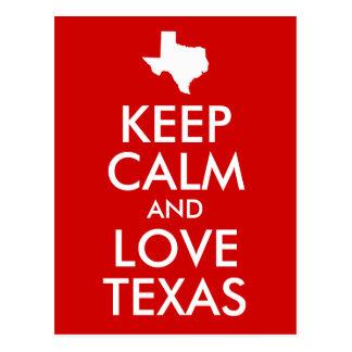 Cartão Postal Mantenha a calma e ame o vermelho de Texas