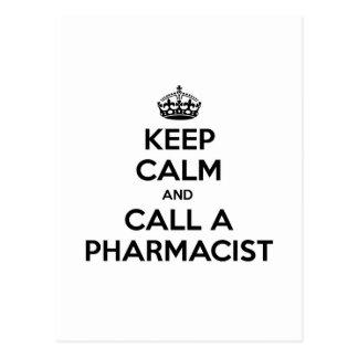 Cartão Postal Mantenha a calma e chame um farmacêutico