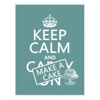 Cartão Postal Mantenha a calma e faça um bolo