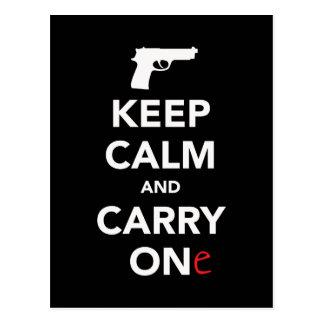 Cartão Postal Mantenha a calma e leve uma arma