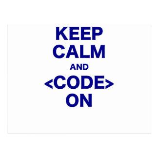 Cartão Postal Mantenha a calma e o código sobre