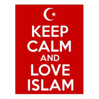Cartão Postal Mantenha a calma e o Islão do amor