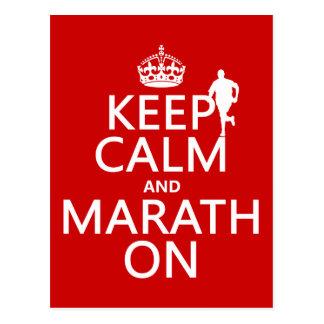 Cartão Postal Mantenha a calma e o Marath sobre