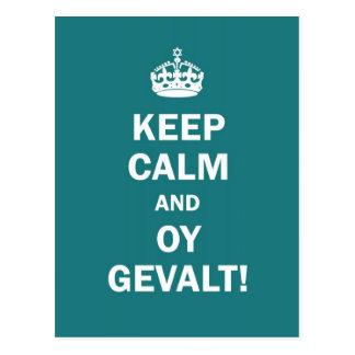"""Cartão Postal """"Mantenha a calma e o Oy Gevalt! """""""