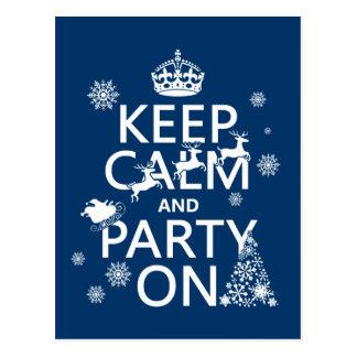 Cartão Postal Mantenha a calma e o partido em (Natal) (alguma