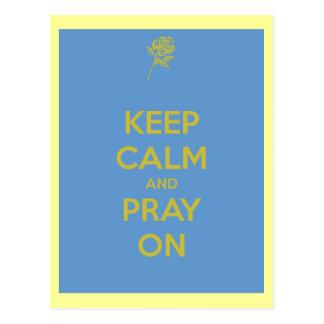 Cartão Postal Mantenha a calma e Pray sobre