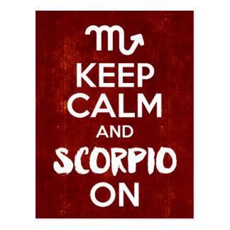Cartão Postal Mantenha a Escorpião calma na astrologia do