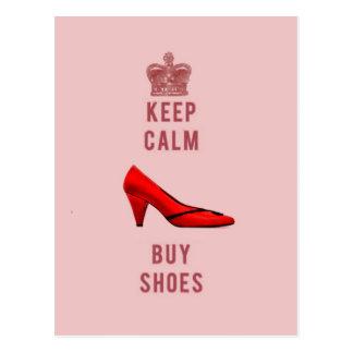 Cartão Postal Mantenha calmo & compre calçados