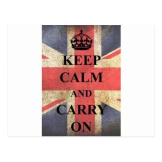 Cartão Postal mantenha calmo e continue Inglaterra