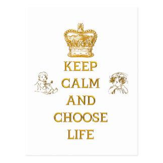 Cartão Postal Mantenha calmo e escolha a vida