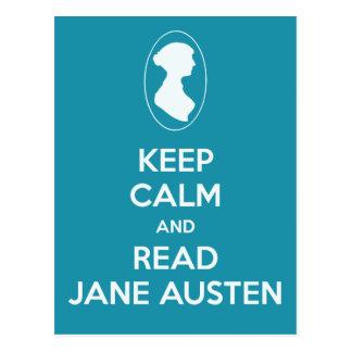Cartão Postal Mantenha calmo e leia a cerceta do cameo de Jane