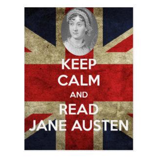Cartão Postal Mantenha calmo e leia Jane Austen