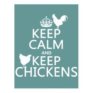 Cartão Postal Mantenha calmo e mantenha galinhas (alguma cor do