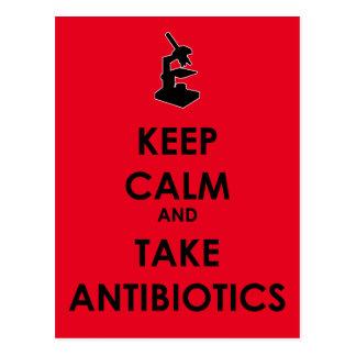 Cartão Postal Mantenha calmo e tome antibióticos