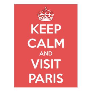 Cartão Postal Mantenha calmo e visita Paris