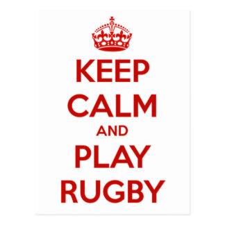 Cartão Postal Mantenha o rugby da calma e do jogo
