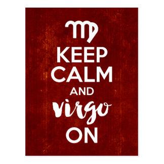 Cartão Postal Mantenha o Virgo calmo na astrologia do