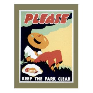 Cartão Postal Mantenha por favor o parque limpo