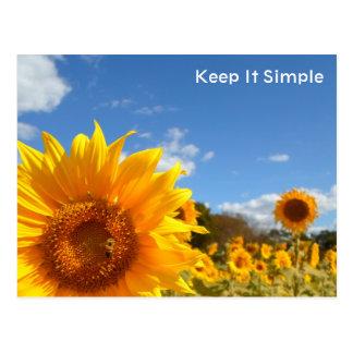 Cartão Postal Mantenha simples com girassóis