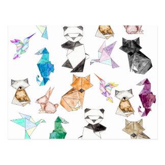 Cartão Postal Mão bonito animais de papel geométricos tirados de