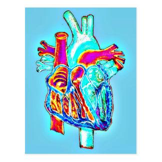 Cartão Postal Mão de néon coração anatômico tirado