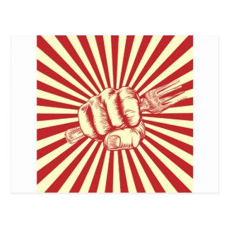 Cartão Postal Mão do punho da propaganda do Woodcut da forquilha