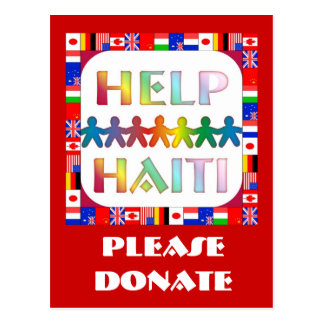 Cartão Postal Mãos que ajudam Haiti - doe por favor